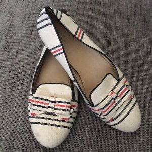 J crew Cleo canvas striped bow loafers 8.5